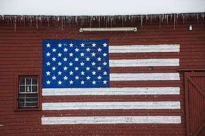 American Flag Painted On A Red Barn Print by Bill Cannon