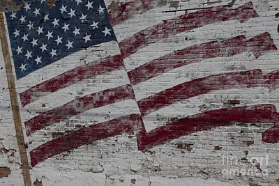 American Flag Painted On Brick Wall Print by Keith Kapple