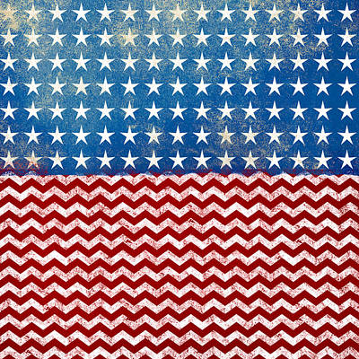 American Flag Red White Blue Print by Flo Karp