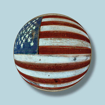Icon Mixed Media - American Flag Wood Orb by Tony Rubino