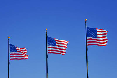 Americans Photograph - American Flags - Navy Pier Chicago by Christine Till