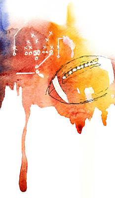 Ipad Design Painting - American Football by Mahsa Watercolor Artist