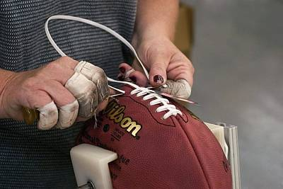 Ada Photograph - American Football Manufacturing by Jim West
