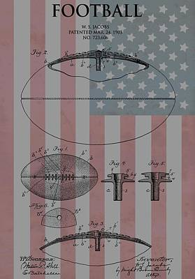 Red White And Blue Mixed Media - American Football Patent by Dan Sproul