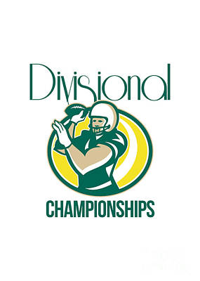 American Football Qb Divisional Championships Retro Print by Aloysius Patrimonio