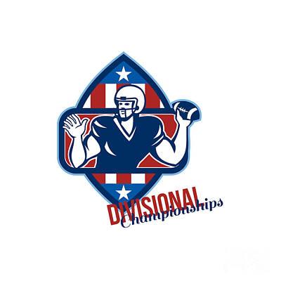 American Football Quarterback Divisional Championships Retro Print by Aloysius Patrimonio
