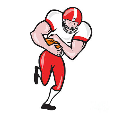 American Football Running Back Ball Cartoon Print by Aloysius Patrimonio