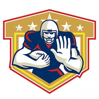 American Football Running Back Fending Shield Print by Aloysius Patrimonio