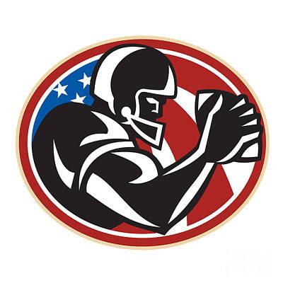 American Football Wide Receiver Ball Print by Aloysius Patrimonio