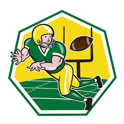 American Football Wide Receiver Catching Ball Cartoon Print by Aloysius Patrimonio
