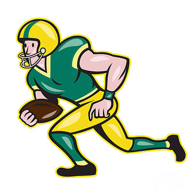 American Football Wide Receiver Running Ball  Print by Aloysius Patrimonio