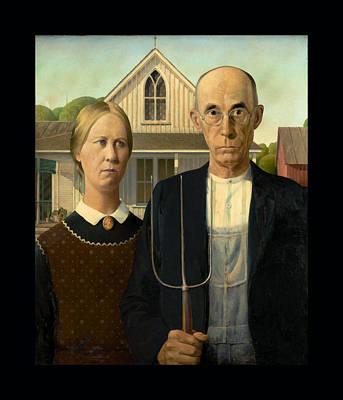 Pitch Painting - American Gothic Duvet by Grant Wood