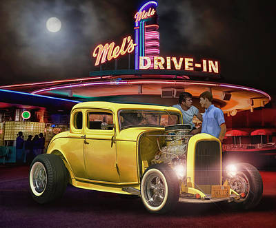 Mels Drive-in Photograph - American Graffiti 40 Years Later ...... by Rat Rod Studios