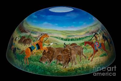 Ledger Lamp Glass Art - American Indian Plains Art by Mikael  Darni