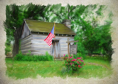 Log Cabin Art Mixed Media - American Log Cabin by Mary Timman