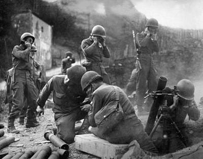 Men Photograph - American Mortar Crew In Action Near The Rhine by Celestial Images
