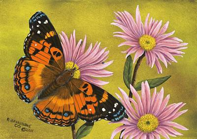 Aster Painting - American Painted Lady by Rick Bainbridge