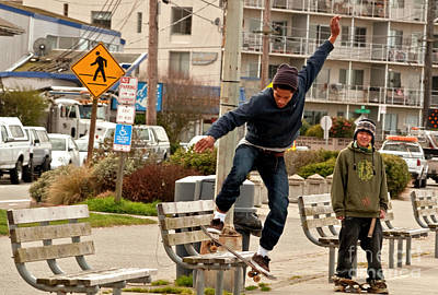Seattle Photograph - American Skateboarder In City Action Shot by Valerie Garner