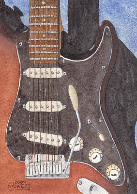 Fender Strat Painting - American Standard Two by Ken Powers