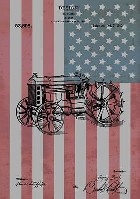 Red White And Blue Mixed Media - American Tractor by Dan Sproul