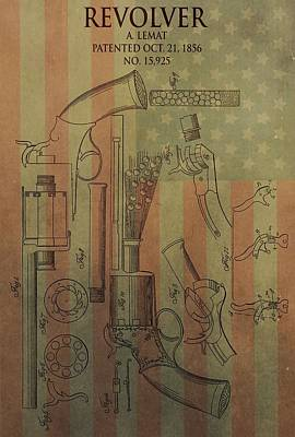 Red White And Blue Mixed Media - American Vintage Revolver by Dan Sproul