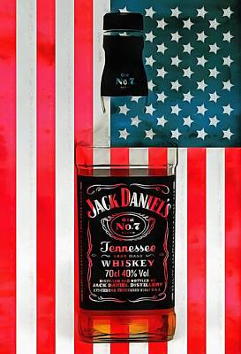 Red White And Blue Mixed Media - American Whiskey Jack Daniels by Dan Sproul