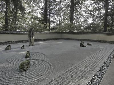 American Zen Rock And Raked Gravel Garden - Portland Oregon Print by Daniel Hagerman