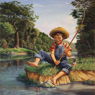 Americana - Country Boy Fishing In River Landscape - Square Format Image Print by Walt Curlee
