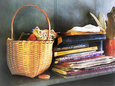 Americana - Books Basket And Quills Print by Susan Savad