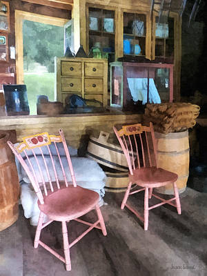 Door Photograph - Americana - Two Pink Chairs In General Store by Susan Savad