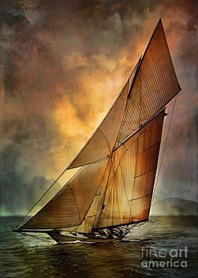 Sailboat Digital Art - America's Cup  by Andrzej Szczerski