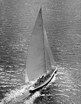 Compete Photograph - America's Cup Rainbow Yacht by Underwood Archives