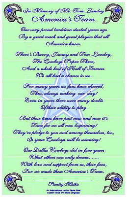 America's Team Poetry Art Poster Print by Stanley Mathis