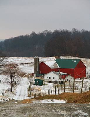 Red Barn In Winter Photograph - Amish Barn In Winter by Dan Sproul