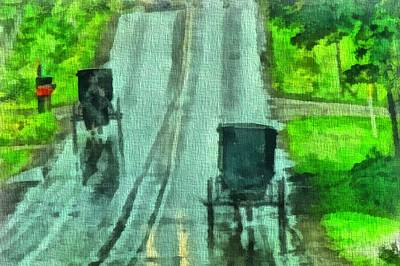 Amish Buggy Traffic Print by Dan Sproul