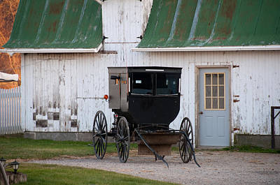 Amish Photograph - Amish Buggy White Barn by David Arment