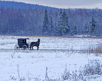 Red Barn In Winter Photograph - Amish Carriage by Jack Zievis