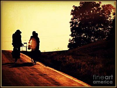 Amish Family Cycles Into Sunset Print by Beth Ferris Sale