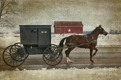 Amish Horse And Buggy And The Star Barn Print by David Arment