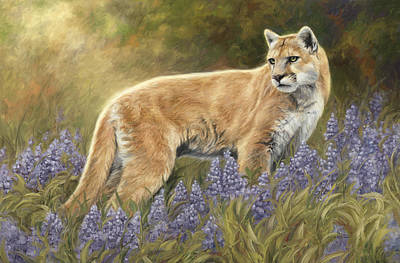 Lions Painting - Among The Flowers by Lucie Bilodeau