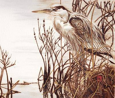 Pyrography Painting - Among The Reeds by Cynthia Adams