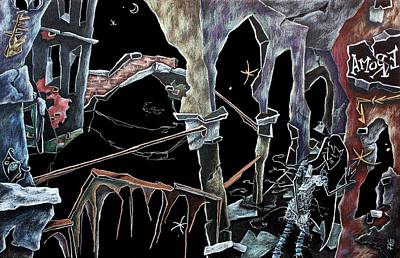 Venecia Drawing - Amore - Dark Fantasy Drawings And Illustration - Dibujo Surrealista  by Arte Venezia