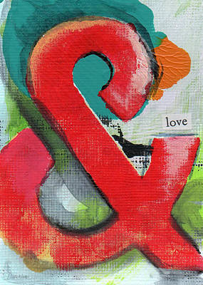 Contemporary Abstract Art Mixed Media - Ampersand Love by Linda Woods