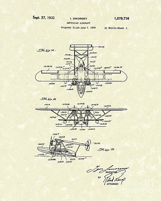 Amphibian Aircraft 1932 Patent Art Print by Prior Art Design