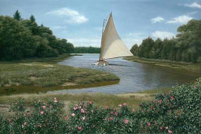 Cape Cod Beach Painting - Amrita Island Sail - Cape Cod by Julia O'Malley-Keyes