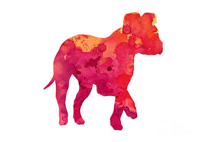 Puppy Mixed Media - Amstaff Puppy Silhouette Large Poster by Joanna Szmerdt