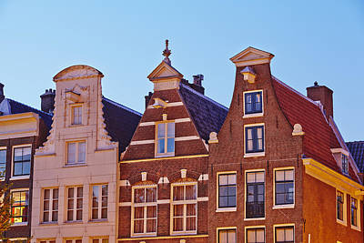 Amsterdam - Gables Of Old Houses At The Keizersgracht In The Evening Print by Olaf Schulz