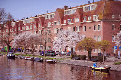 Amsterdam Canal. Pink Spring In Amsterdam Print by Jenny Rainbow