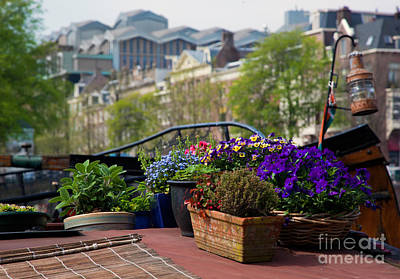 Boat Photograph - Amsterdam Flowers On A Boat by Michal Bednarek