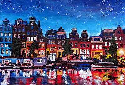 Amsterdam Skyline With Canal At Night Original by M Bleichner